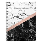 Chic black white marble colour block rose gold notebook
