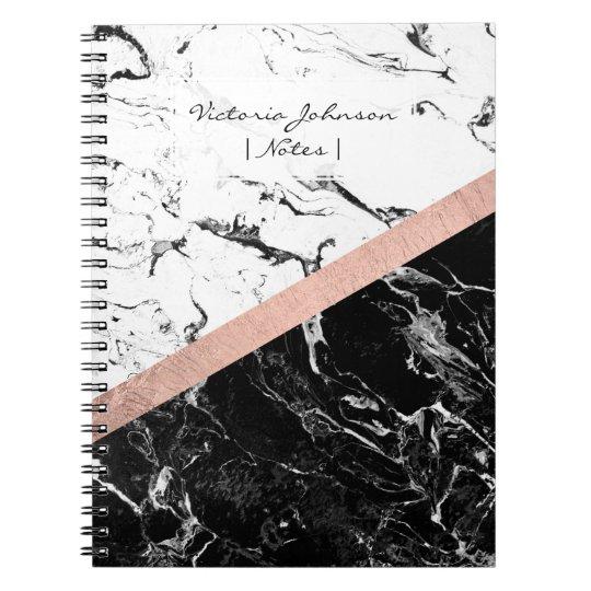 Chic black white marble colour block rose gold notebooks