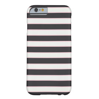 Chic Black White & Pink Striped iPhone 6 Case