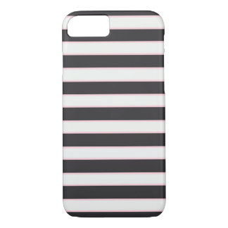 Chic Black White & Pink Striped iPhone 7 Case