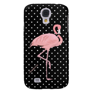 Chic Black & White Polka Dot with Pink Flamingo Galaxy S4 Case