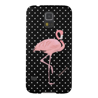 Chic Black & White Polka Dot with Pink Flamingo Galaxy S5 Case