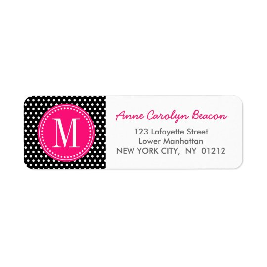 Chic Black White Polka Dots Hot Pink Personalised