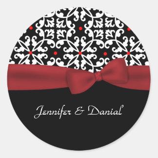 Chic Black, White, & Red Wedding Envelope Seal Round Sticker