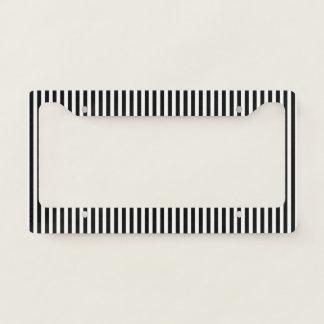 Chic Black White Stripe Design License Plate Frame
