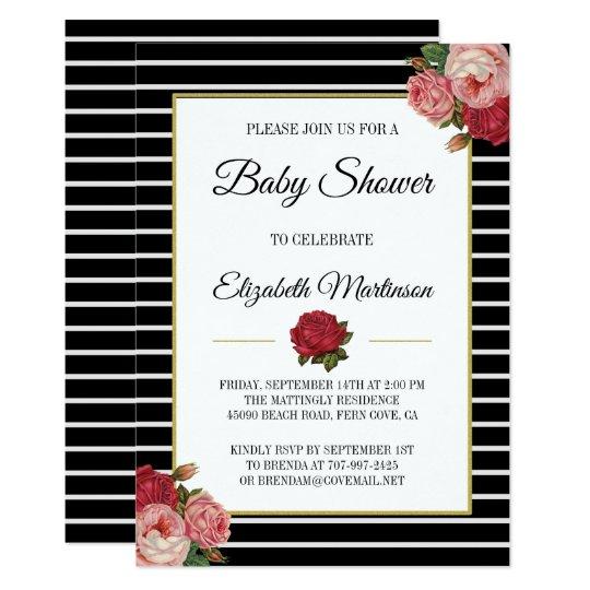Chic Black White Stripe Vintage Floral Baby Shower Card