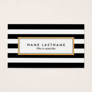 Chic Black White Striped Custom Business Card