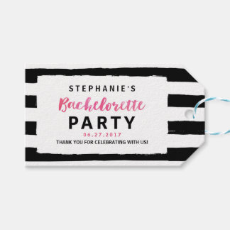 Chic Black & White Stripes Bachelorette Party Gift Tags