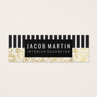 Chic Black White Stripes Gold Dotted Pattern Mini Business Card