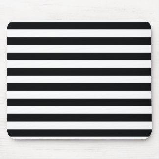 Chic Black & White Stripes Mouse Mat