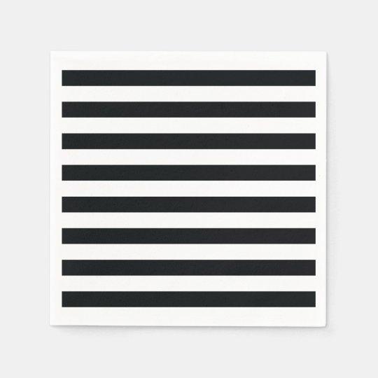 Chic Black & White Stripes Paper Serviettes