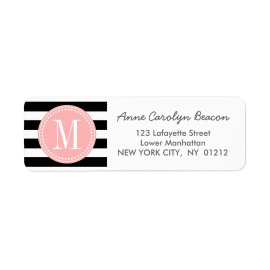 Chic Black & White Stripes Personalised Monogram