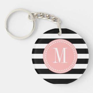 Chic Black & White Stripes Personalized Monogram Single-Sided Round Acrylic Key Ring