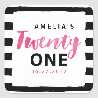 Chic Black & White Stripes Pink 21st Birthday Square Sticker