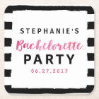 Chic Black & White Stripes Pink Bachelorette Party Square Paper Coaster