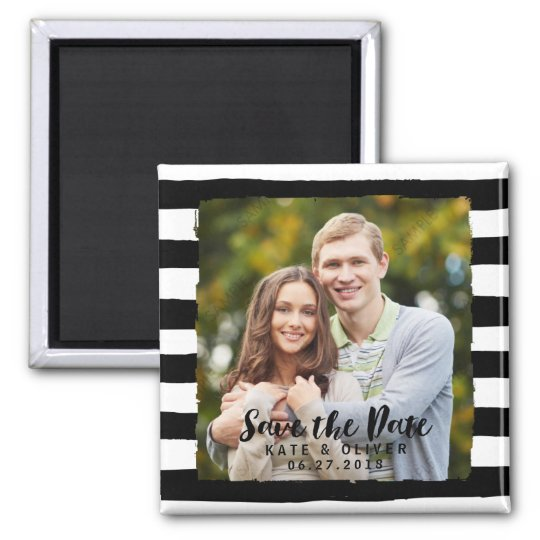 Chic Black & White Stripes Save the Date Photo Magnet