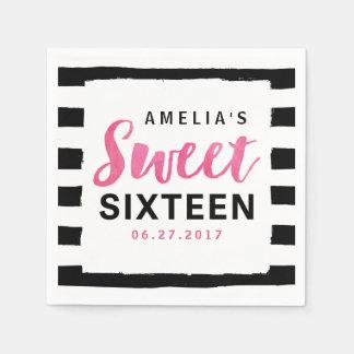 Chic Black & White Stripes Sweet 16 Birthday Disposable Serviette