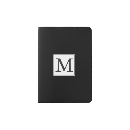 Chic Black with White Monogram Passport Holder