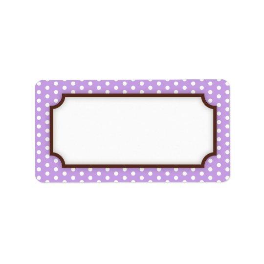 Chic blank purple violet polka dot dots pattern label