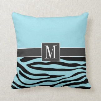 Chic Blizzard Blue Zebra Animal Print Cushion