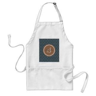 Chic blue abstract geometric pattern monogram apron
