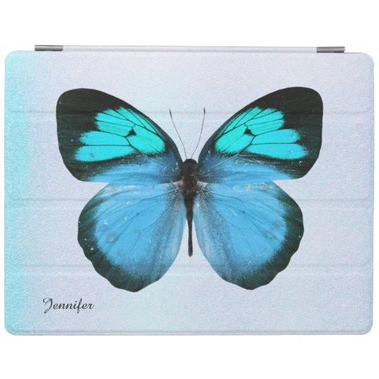 Chic Blue and Black Butterfly Custom iPad Cover