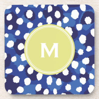 Chic blue and white cheetah print monogram coaster
