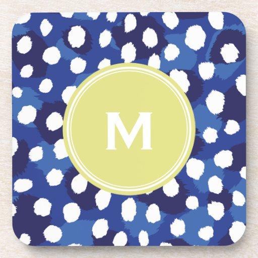 Chic blue and white cheetah print monogram drink coasters