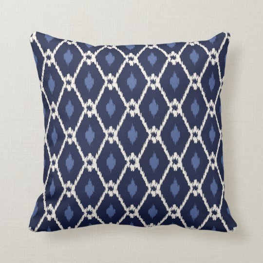 Chic blue and white ikat diamond pattern cushion
