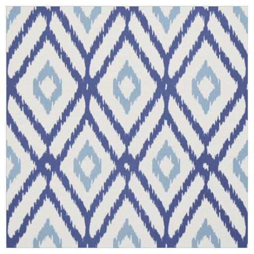 Chic blue and white ikat tribal diamond pattern