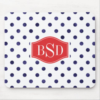 Chic blue and white polka dots patterns monogram mousepad