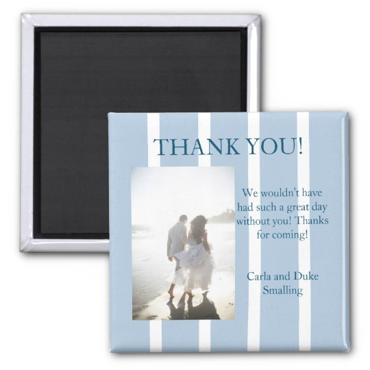 Chic Blue and White Stripe Thank You Favour Magnet