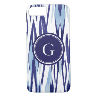 Chic blue and white watercolor ikat pattern iPhone 8/7 case
