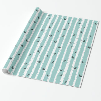 Chic Blue Birch Trees and Birds Pretty Wrapping Paper