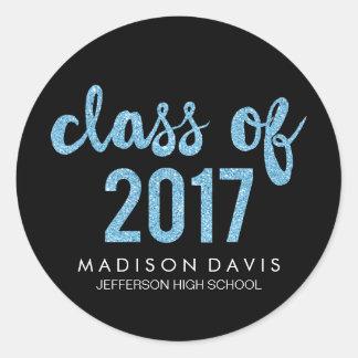 Chic Blue Glitter | Class of 2017 Graduation Classic Round Sticker