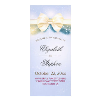 Chic Blue Gold Ribbon Pines Floral Wedding Program Personalized Rack Card