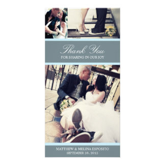 CHIC BLUE GRATITUDE   WEDDING THANK YOU CARD PHOTO CARDS