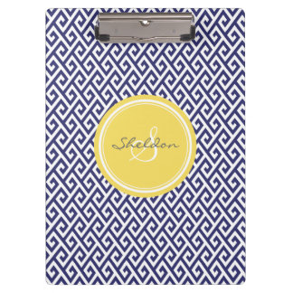 Chic blue greek key geometric patterns monogram clipboard