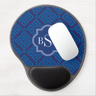 Chic blue greek key geometric patterns monogram gel mouse pad