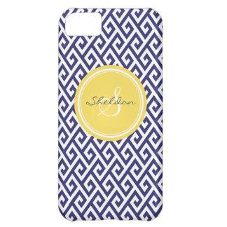 Chic blue greek key geometric patterns monogram iPhone 5C case