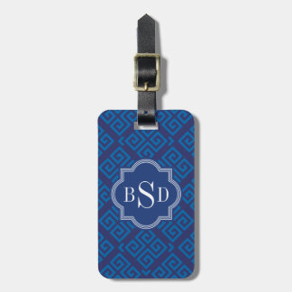 Chic blue greek key geometric patterns monogram luggage tag