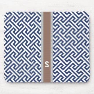 Chic blue greek key geometric patterns monogram mousepads
