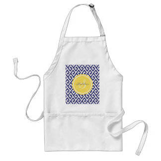 Chic blue greek key geometric patterns monogram standard apron
