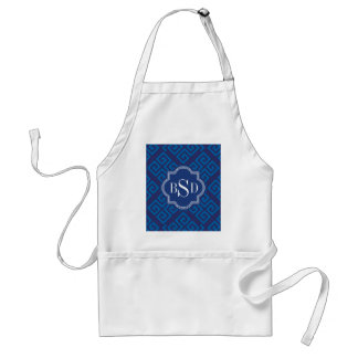 Chic blue greek key geometric patterns monogram standard apron