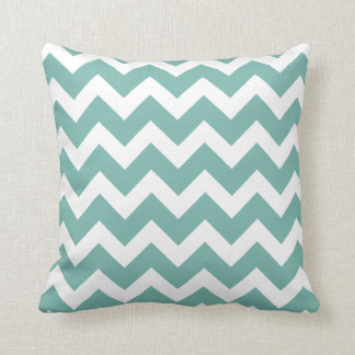 Chic Blue-Green and White Chevron Throw Pillow