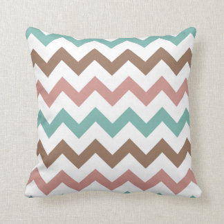 Chic Blue Green Tan Pink White Chevron Pillow Case