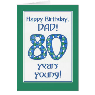 Chic Blue, Green, White 80th Birthday for Dad Card