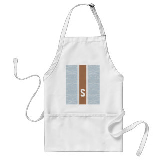 Chic blue grey abstract geometric pattern monogram adult apron