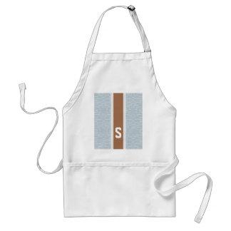 Chic blue grey abstract geometric pattern monogram standard apron