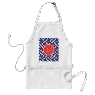 Chic blue herringbone geometric patterns monogram standard apron